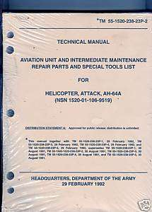 ARMY TECHNICAL MANUAL FOR AH 64A HELICOPTER PARTS,TOOLS