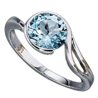 RING mit BLAUTOPAS, Damenring 585 WEIßGOLD 14Kt Gold, Gr. 46 50, 54
