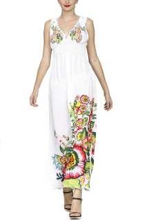 DESIGUAL WOMENS WHITE MAGGIE BOHO MAXI LONG DRESS 22V2232