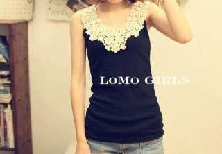 New Korea Girls Lace Flower Stitching Lady Inner Vest 7312#