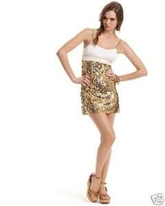 NWT Free People Sparkle Gold Sequin Tank Dress/M 8