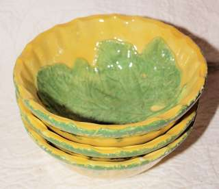 Italian Ceramic Yellow Gold & Green Cabbage Leaf Bowls Made in Italy