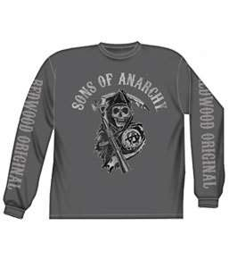SONS OF ANARCHY REAPER TRIPLE PRINT CHARCOAL LONG SLEEVE T SHIRT NEW