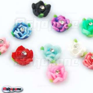 20x Ceramic Rose Flower Rhinestones For 3D Nail Art Tips Decorations