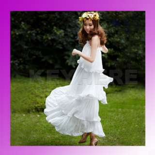 Korea Women Stylish Princess Chiffon Long Dress White