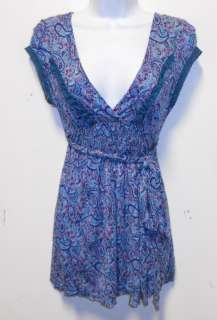 FREE PEOPLE GORGEOUS BLUE AND PURPLE PAISLEY SHIRT WITH LACE DETALING