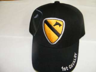 1ST CAV 1ST CAVALRY DIVISION DIV SIDE EMBROIDERED ARMY HAT CAP BLACK