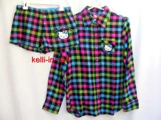 HELLO KITTY Sanrio Plaid Flannel SHIRT & SHORTS 2 PC Pajama Lounge SET