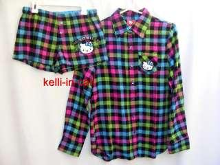 HELLO KITTY Sanrio Plaid Flannel SHIRT & SHORTS 2 PC Pajama Lounge SET