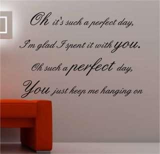 PERFECT DAY LOU REED LYRICS wall art sticker vinyl