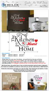WALL ART QUOTE STICKER DECAL Kitchen Heart of the Home