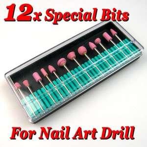 12 x Electric Nail Art Manicure Drill Polish File Bits