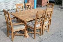 5m Cross X Leg Oxbow Oak Dining Table   As on High St