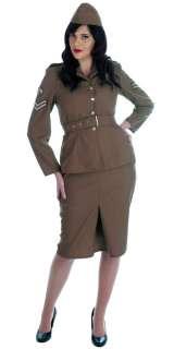 Womens WW2 Army Girl 1940s Military Uniform Fancy Dress Outfit NEW