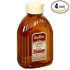 SueBee Clover Honey, 12 Ounce Container (Pack of 4):