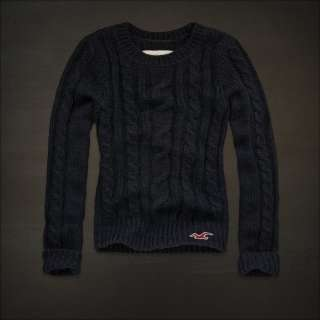 NEW HOLLISTER ABERCROMBIE WOMENS NAVY CABLE KNIT SWEATER M