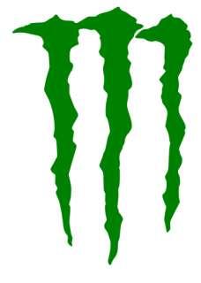 2x Monster Logo Sticker Green/Lime Green/Black 2 sizes