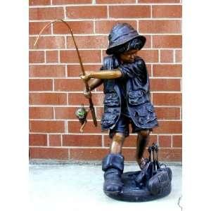 Metropolitan Galleries SRB10030 Fishing Boy Bronze:  Home