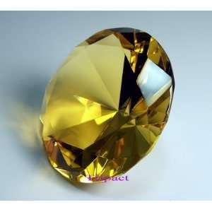 Diamond Jewel Paperweight 100mm Yellow Round Cut