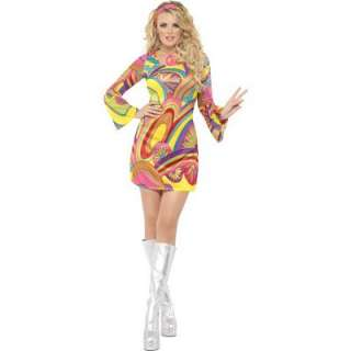 Ladies Hippie Flower Power 60s 70s Fancy Dress Costume