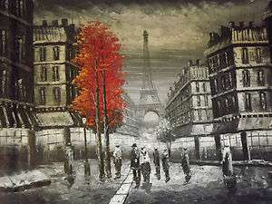 paris red tree large oil painting canvas modern french cityscape art