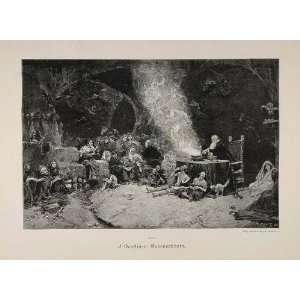 1895 Witchs Sabbath Black Magic Devil German Engraving   Original