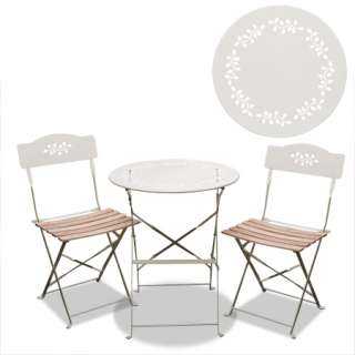 Vintage Shabby Chic CREAM Metal Wood Garden Bistro Table Chairs Set