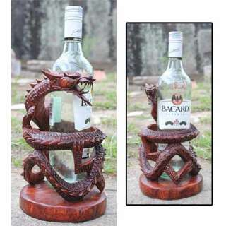 DRAGON WINE BOTTLE HOLDER SCULPTURE SOLID SUAR WOOD HAND CARVED NEW