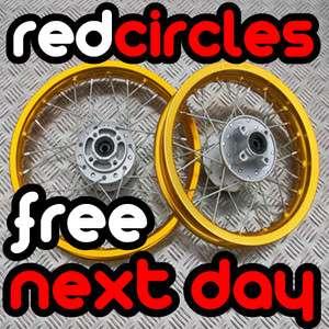 GOLD PIT DIRT BIKE WHEEL SET 14 FRONT / 12 INCH REAR 110cc 125cc