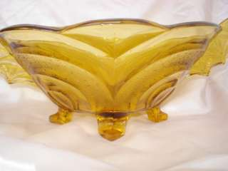 1920s ANTIQUE ART DECO AMBER CRYSTAL GLASS FRUIT BOWL