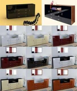 bahut buffet design laqué brillant bordeaux rouge noir