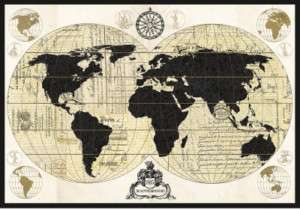 Vintage World Map Art Print by Devon Ross, 40x28