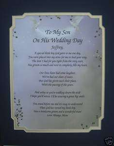 Special Gift For Son On Wedding Day : TO MY SON ON HIS WEDDING DAY POEM PERSONALIZED GIFT