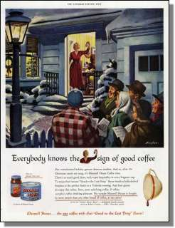 1949 Christmas Carols & Maxwell House Coffee Print Ad