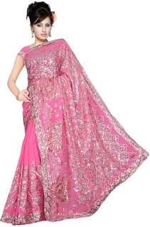 Rose Indien Sari Saree VentreDanse ROBE KAFTAN Stoff NW