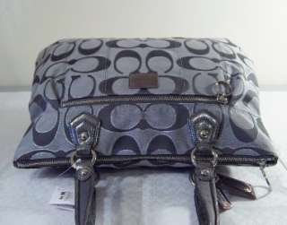 COACH POPPY METALLIC SIGNATURE GREY ASH GLAM TOTE SHOPPER 17890 LAST