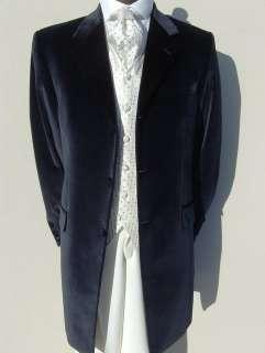 MENS VELVET NAVY BLUE PRINCE EDWARD WEDDING DRESS SUIT JACKET 36 38 40