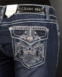 NWT Womens LA IDOL Jeans HEAVILY CRYSTALED FLEURS 1181LP