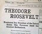 1904 Newspaper THEODORE ROOSEVELT Republican Nomination for President