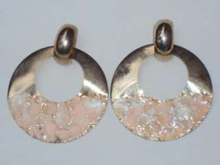 Huge Vintage Gold Pink Enamel Runway Earrings Pierced (P876)