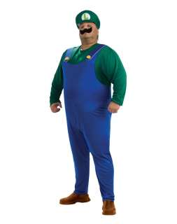 yellow buttons, a green Luigi cap, inflatable belly, and a moustache