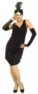 Super Deluxe Black 20s Flapper Costume   Flapper Costumes