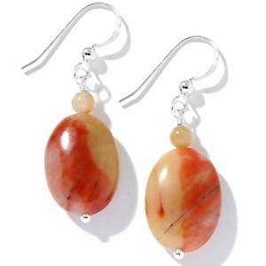 Jay King Sunset Red Stone Sterling Silver Drop Earrings