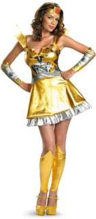 Dress featuring robotic print on the bodice and vibrant yellow skirt