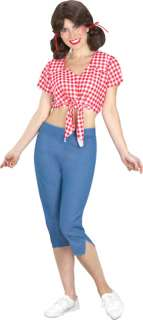 Classic midriff tie top, capri pants and wig. One size fits most