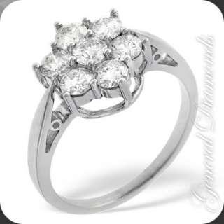 VVS Real Diamond Cluster Ring 18k Solid White Gold
