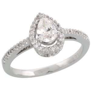 com 18k White Gold Pear shaped Diamond Solitaire Ring, w/ 0.44 Carat