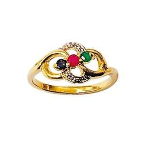 Gold Plated Blue Sapphire Red Ruby Green Agate Flower Ring Jewelry
