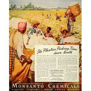 Ad Monsanto Cotton Field Black Americana Pickers   Original Print Ad