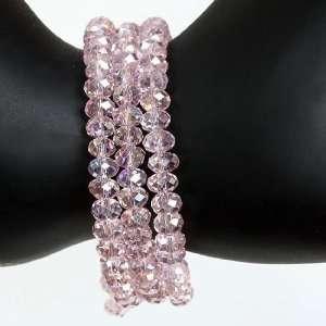 BRACELET BANGLE GIFT   6mm Pink Crystal Glass Faceted Adjustable